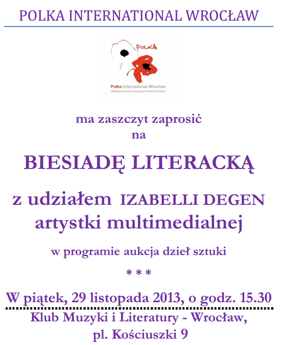 Izabella DEGEN zaprasza na biesiade literacka do Wroclawia